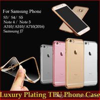 Wholesale Gold Plated S4 - Luxury Ultra Thin Slim Plating Gilded TPU Crystal Clear Case For iPhone 7 Plus Samsung Galaxy S3 S4 S5 Note 3 4 5 J5 J7 Free DHL MOQ:200pcs