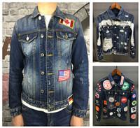 Wholesale Gold Denim Jacket - 2017 new luxury brand Basic Coats Autumn Winter Men fashion all Denim Jacket Vintage slim fit italian caten Brand Jeans Coat brothers