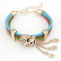 Wholesale Leather Bracelets For Cheap - Fashion Punk Fashion Multilayer Leather Gold Plated Charms Skull Bracelet for Women Cheap skull turquoise