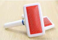 Wholesale Good Cleaning Supplies - 8*3.5cm Pet Brush Plastic Handle Safe To Dog Cleaning Grooming Tool for Dog and Cat Supplies Good Quality White Red Color