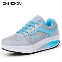 Wholesale Pink Gingham - Free shipping 2017 Summer style Women casual shoes women's swing breathable gauze platform single elevator Shoes