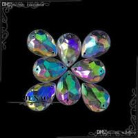 шить кристальные драгоценные камни оптовых-Оптовая продажа-13*18 мм Кристалл AB падение горный хрусталь кнопки шить на акриловые Flatback драгоценные камни Кристалл камни аппликация для ремесел украшения 500шт