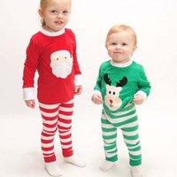 Wholesale Cotton Red Pajamas For Kids - Christmas Pajamas Fashion Childrens Sleepwear Kids Underwear 2016 Boys Girls Pajamas For Kids Children Clothes Kids Clothing Lovekiss C29283