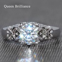 Queen Brilliance lujo 1 quilate ct GH Color Moissanite anillo de diamantes anillo de compromiso de la boda genuina 14K 585 oro blanco 17903
