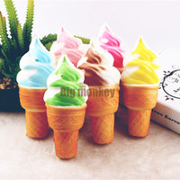 Wholesale 15pcs CM PU Candy Colors The simulation BIG Ice cream Cookies Biscuit Squishy Charm