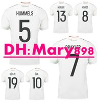 Wholesale Germany Army - Top Thai quality 17 18 Germany white soccer Jersey 2017 2018 DRAXLER HUMMELS MULLER KROOS GOTZE OZIL football shirts