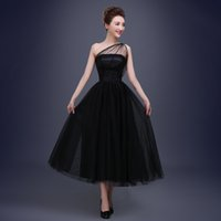 Wholesale Tea Length Bridal Party Dresses - 2017 Vintage Black Bridal Evening Dresses A Line One Shoulder Sequined Tea Length Puffy Celebrity Party Gowns Occasion Prom Wears CustomGown