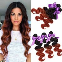 Passion Ombre Hair Weave Malásia Body Wave 3 Bundles Dark Brown Colored Hair 1B / 33 Extensões baratas de cabelo humano da Virgem da Malásia