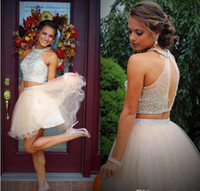 Wholesale Top Grade Blue Prom Dress - Fashion Two Pieces Hater Homecoming Dresses 2016 Beading Crystal Top Tulle Short A Line Party 18th Grade Graduation Prom Dress Cocktail