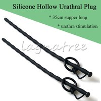Wholesale Silicone Urethral Dilator - 13.8'' Silicone Penis Plug Tube Urethral Stretcher Catheter Dilator Through Hole