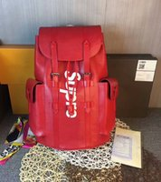Wholesale Authentic Leather Bags - Red Backpack M41379 Real Leather Christopher Jiont Limited Release CX#23 Outdoor Bags Authentic Men Women Original