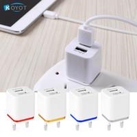 Wholesale Apple Ipad Usb Adapter - Universal 2 Ports USB Wall Charger Travel Adapter 5V 3.1A for iPhone Samsung iPad 4 Color Apple EU US Plug