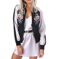 Wholesale Cool Basic - Cool floral embroidery bomber jacket stain women jacket coat Casual sukajan basic baseball souvenir jackets veste