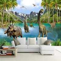 Wholesale Dinosaur Beds - Wholesale- papel de parede 3D Stereo Large Murals Jurassic era dinosaurs wall murals wallpaper for living room sofa bed bedroom wall paper