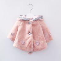 Wholesale Hooded Rabbit Fur - Baby Infant Girls Fur Winter Warm Coat Cloak Jacket Thick Warm Clothes Baby Girl Cute hooded Rabbit ear flower outwear