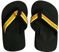 Wholesale Baseball Decals - 2018 Free shipping yellow softball flip flop Baseball white leather sandals rhinestone decals big flower shape men beach sports sandals