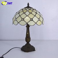 Wholesale Mediterranean Sea Painting - FUMAT Stained Glass Table Lamp Tiffany Mediterranean Sea Beads Glass Bedside Lamp Warm Lights For Living Room Table Lights