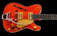 Wholesale Hollow Gold Guitar - Rare Hybird Jazz Guitar TeleGretscher Paul Waller Orange TELE Electric Guitar Semi Hollow Body F Hole Bigs Tremolo Bridge Gold Hardware