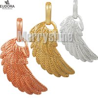 Wholesale small ball necklace resale online - Small Angel Caller Wing Pendant Silver Gold Rose Gold Plated Eudora Feature Pendants for Harmony Bola Ball Women Jewerly