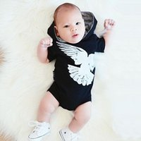 Wholesale Boy Short Sleeve Hooded - PUDCOCO Baby Rompers Hooded Bird Fashion Black Clothes Newborn Toddler Clothing Baby Boy Romper Jumpsuit Playsuit Outfits Clothes 0-24M