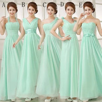 Wholesale mix color wedding bridesmaid dress for sale - Group buy Pleated Long Chiffon Bridesmaid Dress Mint Green Floor Length Wedding Party Dress Style Mixed Order