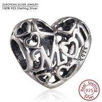 Wholesale Heart Alphabet Bead - Openwork Heart Mum Charm Beads Fits Pandora Bracelets Authentic 925 Sterling Silver Alphabet Mom Heart Bead Diy Jewelry Gifts