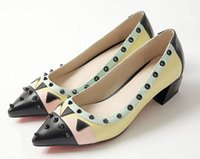 Wholesale Girls Shoes 33 - 2016 New Arrival Plus Big Size 33-43 Yellow Red Rivets Fashion Casual Mid Heel Girls Lady Womens Shoes Pumps