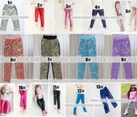 Wholesale Pants Rose Tight Cotton - 2016 Girls Sequin Pants Rose Gold Sequin leggings tights Sparkle Pants Glitter leggings girls sequin bottoms 13colors choose free