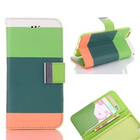 Wholesale Card Wallet Rainbow - Rainbow Stripe Wallet Case with Card Slot Kickstand Hang Rope Flip Cover For iPhone 6 6S 7 Plus OppBag