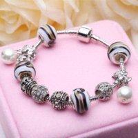 Wholesale European Cuff Bracelet - European Murano Glass Charm Bracelets With Simulated Pearl Pendant Bracelet For Women Valentines Gift Cuff Bracelets PS3169