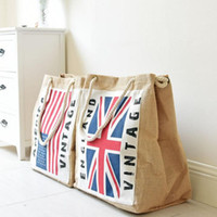 Wholesale Linen Tote Bags Wholesale - American and England Flag Linen Shopping bags Big Messenger Storage Bags Reusable Shoulder Bag Shopping Tote KKA2507