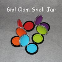 Wholesale rubber wallets - FDA Approved 6ml Mirror Silicone Container Clam Shell Silicone Dab Wallet Container For Wax  Oil Butane Hash Oil Silicone Container