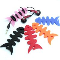 Wholesale Mp3 Fish - Silicone Rubber Fish Bone Earphone Cable Wire Cord Organizer Holder Winder for MP3 Headphone 500pcs lot