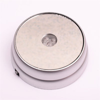 Wholesale Led Light Base Stand - New Rond 3 LED Colors Lights light up Display Stand Base silvery For 3D Glass Crystals Ball paperweight cocktail champagne + DC Adapter