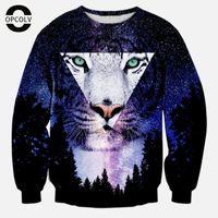Wholesale Mens Galaxy - Wholesale-OPCOLV Women Men Harajuku Style Galaxy Sweatshirt 3d Animal Tiger Sweatshirts Mens Graphic Pullover Hoodie Tops