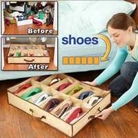 Wholesale Storage Cases For Clothes - Foldable Shoes Organizer Storage Holder Box Container Case Closet Fabric Under Bed Storage Bins for 12 Shoes Space Saving Keep Clean