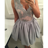Wholesale Grey V Neck Cocktail Dress - Grey Deep V Neck Short Prom Dresses Cocktail Dress Sleeveless Applique Pleats Formal Party Dresses 2017 Stain Mine Modest Homecoming Dresses