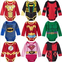 Wholesale High Neck Baby Bodysuit - Baby Girl Boy Bodysuit Onesie Superhero Clothes Long Sleeves Jumpsuit Playsuit Spring Autumn Size 0-24M High quality fashion Free shipping