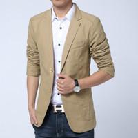 Wholesale Blaser Mens - Casual Blazer Men High Quality Blaser Masculino Slim Fit Cotton Stylish Mens Blazer Jacket Cotton Two Button Business Dress Suit