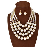 Wholesale China Plastic Beads - Jewelry Sets For Women Gold Plated African Beads Jewelry Set Party Accessories Necklace Earring Earrings Foliage Silver Plated Jewelry Sets