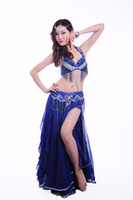 Wholesale Red Rhinestone Bra - New Belly Dance Costume Set 3 Pcs (bra+skirt+belt) Suit Belly Dancing Clothes 11Color Bellydance Professional Free Shipping