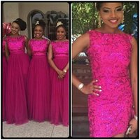 Wholesale Hot Black Woman Maid - Hot Sale Fuchsia Sequined Overskirt Bridesmaid Dresses 2018 Plus Size Detachable Train Maid Of Honor Wedding Party Gowns For Arabic Women