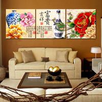 lienzo imagen vasos al por mayor-Decoración de la pared Unframed 3 Pieces picture Lienzo Prints peonía Lotus hoja pescado en maceta flor tulipanes rosa caracteres chinos Jarrón de porcelana