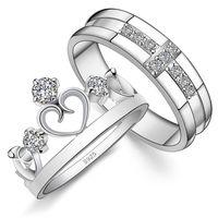 paare krone ringe groihandel-Paar Ringe Kreuz Krone Stil 925 Sterling Silber mit Zirkon für Liebhaber Verlobungsring Trauringe Geschenk für Männer und Frauen
