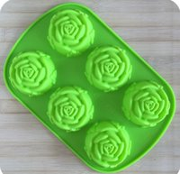 Wholesale Hearts Soap Mold - 6 even roses silicone cake mold high quality cake tool 4 color Heart Gelatin Mold soap mold food grade mold sale fashion
