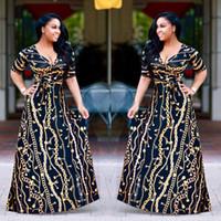 Wholesale Traditional Design Dresses - 2017 Plus Size African Fashion Designed Traditional Maxi Dress Autumn Women Vintage Chain Print Long Dress Sexy Elegant Party Dresses S-XXXL