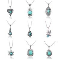 Wholesale Turquoise Precious Stones Wholesale - Heart flower 11 Styles opal turquoise tiger's-eye amethyst semi precious stone rhinestone openwork filigree pendants necklaces