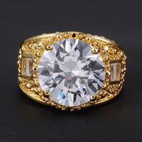 anillo de zafiro amarillo oro 18k al por mayor-Tamaño 9/10/11/12/13 valioso para hombre 15ct enorme zafiro blanco 18 K oro amarillo lleno de anillo