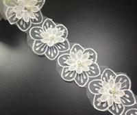 Wholesale Sewing Trims Doll - 15Yard Flower Pearl Organza Lace Fabric Trim Ribbon For Sewing DIY Bridal wedding Doll Cap Hair clip