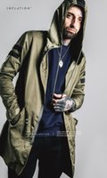 Wholesale Hooded Trenchcoat - INFLATION Free Shipping Customize Top Quality Black Mens Long Trench Coat Men Europe Trenchcoat Jacket Men Winter Trench Coat